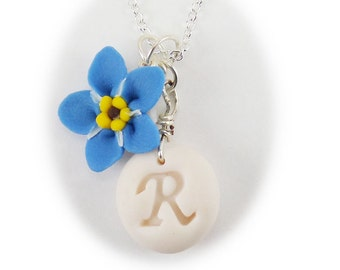 Blue Personalized Forget Me Not Initial Necklace - Forget Me Not Jewelry