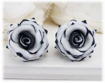Black Tip White Rose Earrings Stud or Clip On