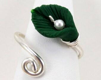 Sterling Silver Leaf Adjustable Wrap Ring