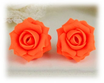 Fluorescent Orange Rose Earrings Stud or Clip On - Fluorescent Orange Jewelry