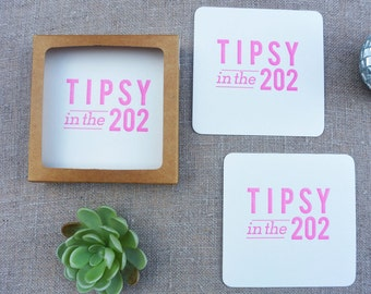 Letterpress Coasters - Washington DC Local Love - Tipsy in the 202 - Set of 8 - LLV-457