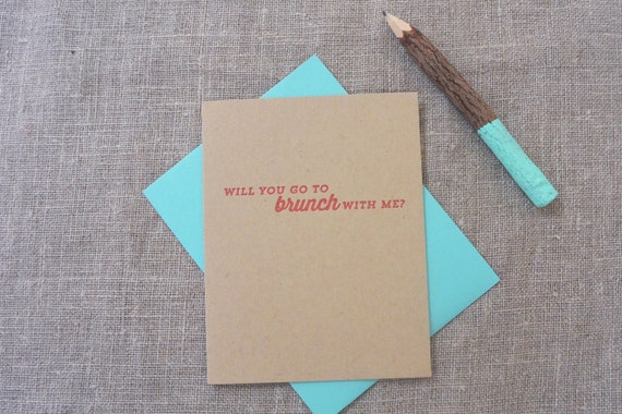Letterpress Greeting Card - Join Me - Will You Go to Brunch With Me? - JNM-049