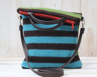 Striped Wool Fold Over Purse Cross Body Bag Stripe Wool Bag in Brown Turquoise and Green