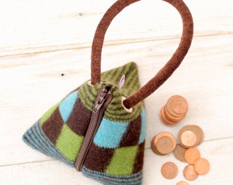 Triangle Pouch in  Brown Green and Turquoise Checkerboard
