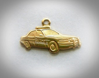 BRASS (5 Pieces) Police Car Brass Charms Police Stampings and Jewelry Findings (BG)