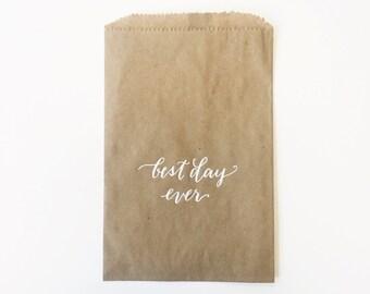 Kraft Best Day Ever Paper Favor Bags - set of 35