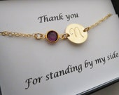 Thank You Bracelet with Message Card SET, Personalized Bracelet in Gold Fill or Sterling Silver, Birthstone Bracelet,Friendship Bracelet
