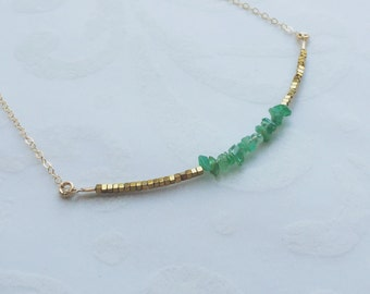 May Birthstone Necklace Emerald Necklace Emerald Birthstone Bridesmaids Gift May Anniversary Gift for Mom