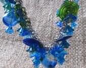 Mermaid's Delight Handmade By Susan Every OOAK Mermaid Blues And Greens Lampwork Beaded Necklace, Ships Worldwide