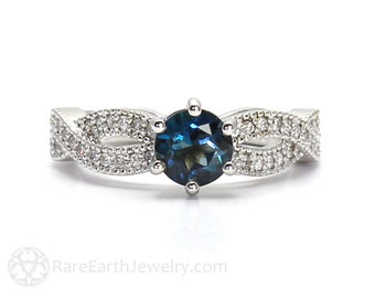 Infinity Engagement Ring London Blue Topaz Solitaire with Diamonds 14K or 18K Gold Blue Gemstone Ring