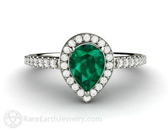 Emerald Engagement Ring Pear Halo Emerald Ring 14K or 18K Gold or Platinum May Birthstone Green Gemstone Ring
