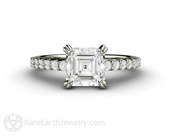 Asscher Forever One Moissanite Engagement Ring Pave Solitaire Conflict Free 14K 18K Gold or Platinum