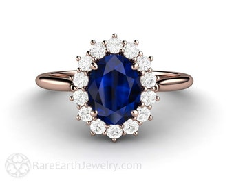 Blue Sapphire Engagement Ring Sapphire Ring Diamond Halo Oval Cluster September Birthstone Blue Gemstone Ring Unique Engagement