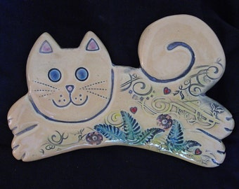 Ceramic White Cat wall hanging for home or garden