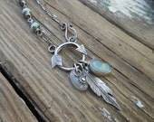 Sterling Silver and Beach Stone Arrow Necklace