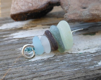 Sea glass necklace - Beach Glass (sea glass) cairn pendant - natural sea glass jewelry