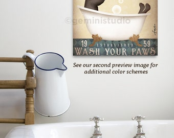Pitbull pit bull dog bath soap Company artwork on gallery wrapped canvas by Stephen Fowler