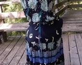 Carole Little German Rayon Summer Dress, sz 12/14, Cute open Back, Drawstring Waist, Broom Stick Tiered Skirt, Boho, Southwest Rose
