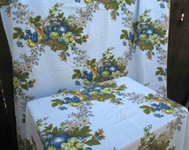"""Harvest Basket Vintage Fabric 60s Grapes and berries Fabric Curtains Gabrielle Cie blue floral print Cotton material 3 yds 48"""" wide 57"""" long"""