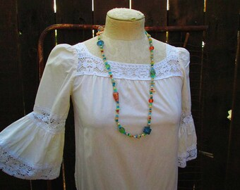 70s Mexican Lace dress Ivory cotton muslin vintage 70s Lace cotton dress Bell sleeves S M