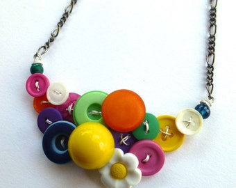 Christmas in July Sale Colorful Daisy Necklace Bright Button Jewelry