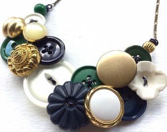 Statement Button Bib Necklace Gold Brass, White, Navy Blue, and Green
