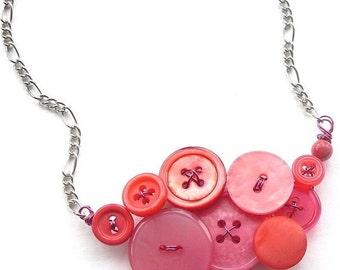 Winter sale Geranium Fuchsia Coral Pink Vintage Button Necklace