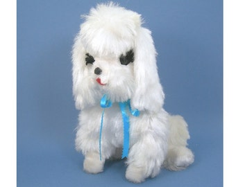 Vintage 60s Stuffed Toy - Plush White Poodle Dog - Made by The Rushton Company - 11 Inches Tall - Clean Collectible Vintage Toy Animal