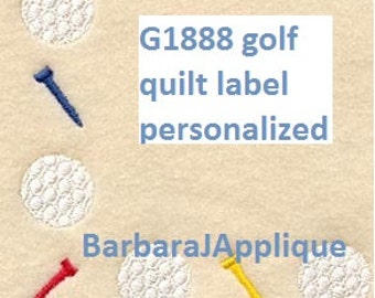 G1888-Golf Quilt Label machine embroidered personalized