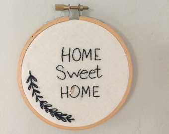 """Home Sweet Home Hoop Art ~ Quote 4.5"""" Wall Hanging ~ Black & White Embroidery Art ~ Stitched Home Decor ~ Housewarming Gift ~ Moving Gift"""