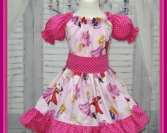 Princess Pink Ruffle Dress, Hot Pink Polka Dots Girl Dress, Birthday Girl Dress, Girl Pink Dress, Girl Pink Ruffle Dress