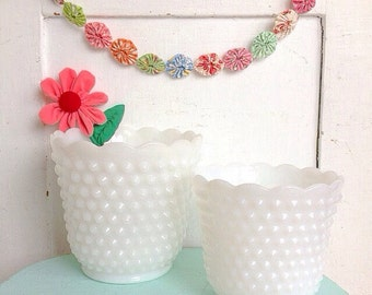 How Does Your Garden Grow... Two Vintage White Hobnail Milk Glass Planters Cache Pots Farmhouse Decor Flower Pots