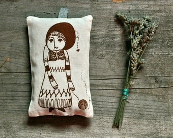 cotton sachet scented pillow / homegrown organic dried lavender buds - The Girl Who Knitted Love