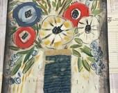 Blue Moon - Folk art-quilted flower- 205