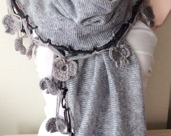 Oversized Handmade Crochet Gray Flower Lace Trimmed Scarf, Rectangle  Knitted Fabric Shawl
