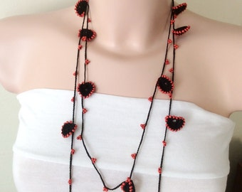 Black Necklace, RED Bead Lariat, Long Lariat, Bracelet