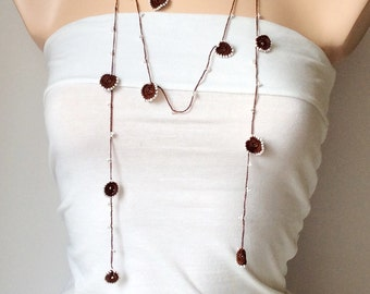 Brown Necklace, white Bead Lariat, Long Lariat, Bracelet