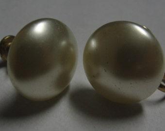Cream Simulated Pearl Screw Earrings