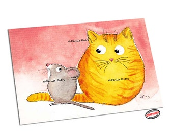 Skeptical Ginger Tabby Kitty & ChunkyBrown Mouse Whimsical Cat Mice Art ACEO Print ATC