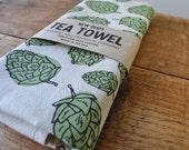 Extra large Tea Towel Hops screenprinted fabric flour sack towels beer brewer beer art hop cones dish towel cotton towel usa made