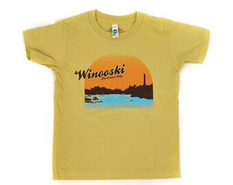 Winooski shirt kids shirt child tee toddler tshirt organic shirt yellow vermont sunset american apparel