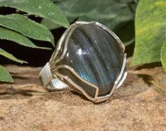 Large Electric Blue Labradorite Ring - Sterling Silver