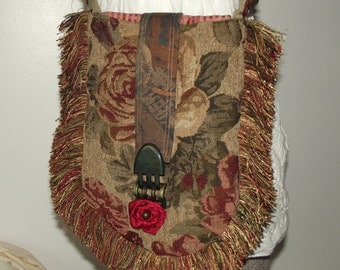 Handmade Tapestry Purse, Shabby Chic Bag, EcoFriendly, Green, Green/Burgundy Shoulder Bag, Vintage Accent, Boho Accessory