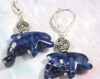 dolphin earrings - sodalite earrings - dolphin jewelry - dolphin lover gift - sterling silver ear wires - carved stone animal  - animal love