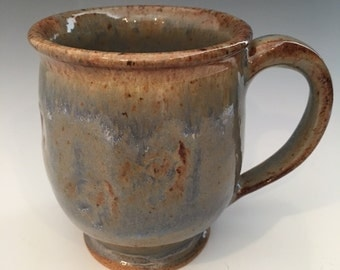 Handmade Coffee Mug - Blue - Green - Brown - Cream - Handmade - Speckled - 13 oz