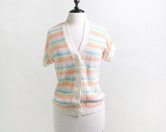 ON SALE Vintage Striped Sweater - Candy Color Rainbow - Medium - Easter