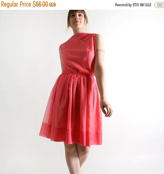 ON SALE Vintage 1960s Mini Dress - Coral Pink Chiffon Cocktail Dress - XS Small
