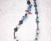 Sale - Copper Blues Long Necklace - 27 Inches - of Crystal, Gems, and Copper