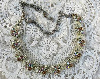Vintage Lisner Rhinestone Necklace, Signed, Topaz, Amber ... Stylized Flower & Leaves Choker Necklace ... 1950's