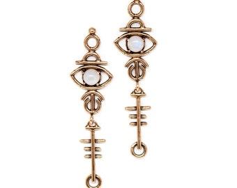 Sulis Earrings // moonstone, lapis, turquoise, & red jasper